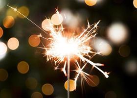 Golden Christmas bokeh lights photo