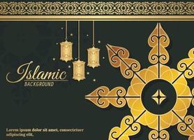 ramadan kareem banner in black and golden style vector
