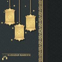 Luxury islamic lantern background ramadan kareem vector