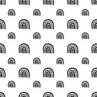 Rainbow black and white pattern. Black rainbow pattern. Hand-drawn vector illustration in a minimalistic Scandinavian style