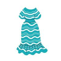 Summer blue dress with a striped pattern. Cartoon vector illustration