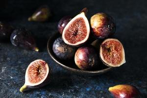 High angle of a bunch of autumn figs