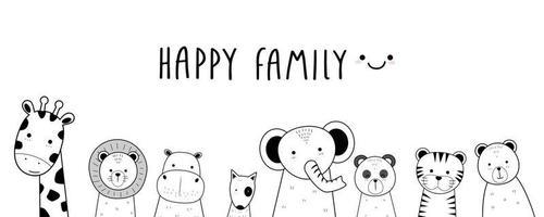 Cute animals giraffe lion hippo dog elephant panda tiger and bear greeting cartoon doodle card vector