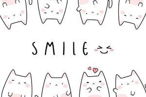 Cute chubby white cat kitten greeting cartoon doodle card vector