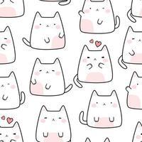 Cute chubby white cat kitten cartoon doodle seamless pattern vector