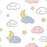 Cute cloud moon and star white sky cartoon doodle seamless pattern vector