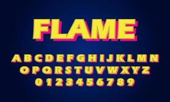 flame font alphabet vector