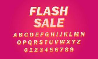 flash sale font alphabet vector