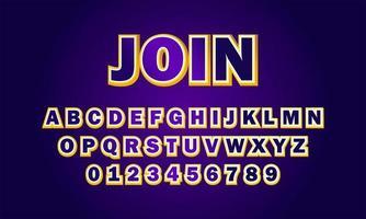 join font alphabet vector