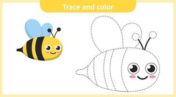 Trace and Color Cute Bee vector