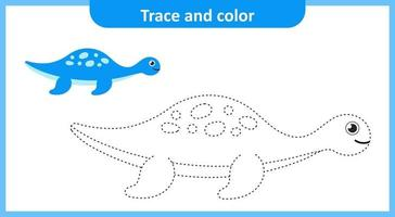 Trace and Color Cute Dinosaur vector