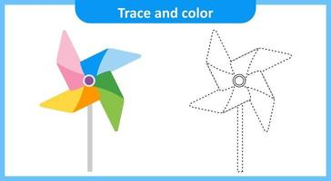 Trace and Color Paper Windmill vector