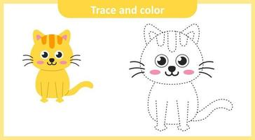 Trace and Color Cute Cat vector