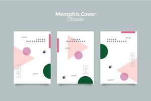 Set of simple memphis geometric cover design templates vector