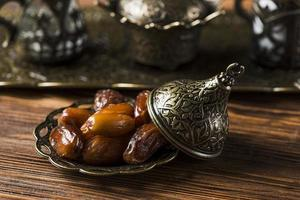 Arabic food composition of ramadan with dates photo
