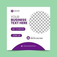 plantilla de diseño de publicación de redes sociales púrpura vector