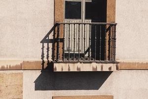 Balcony on the facade of the house, architecture in Bilbao city, Spain photo