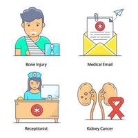 Diseases and Healthcare Elements vector