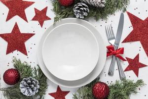 surtido de mesas navideñas festivas laicas planas foto