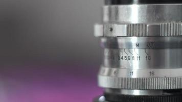 Nahaufnahme Vintage Filmkamera Objektiv Details