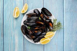Gourmet mussels dish flat lay photo