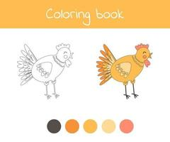 Coloring book with cute farm animal chicken. For kids kindergarten, preschool and school age. vector