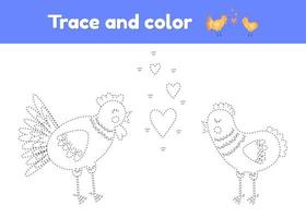 Coloring book with cute farm animal chicken and rooster. For kids kindergarten, preschool and school age. Trace worksheet. Development of fine motor skills and handwriting. vector