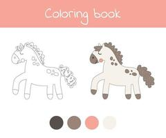 Coloring book with cute farm animal a horse. For kids kindergarten, preschool and school age. vector