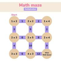 Math maze. Multiplication. Logic game for school kids. Mathematical labyrinth. Find right way. Education worksheet. vector