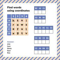 Educational game for preschool and school age children. Find words using coordinates. Puzzle worksheet page. vector
