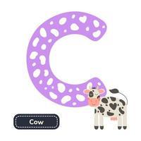 Kids alphabet. Letter c. Cute cartoon cow. vector