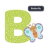 alfabeto de los niños. letra b. mariposa de dibujos animados lindo. vector