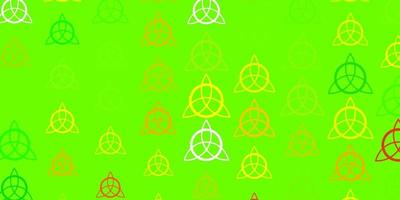 patrón de vector verde claro, amarillo con elementos mágicos.