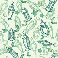Arabic lamps, sketch hanging lanterns. Seamless pattern. Hand drawing card, poster, background for Ramadan - islamic blessed month. vector