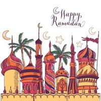 Ramadan greeting illustration with silhouette of mosques vector