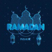 Ramadan greeting illustration with silhouette of mosque on dark blue. Creative design concept for muslim holiday. vector