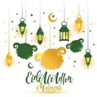 Eid Al Adha Calligraphy Text with sheep illustration for eid Mubarak Celebration Background. vector