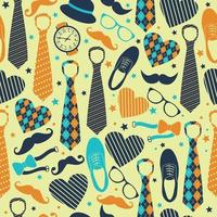 Seamless pattern of Fathers day. Flat icons on yellow background. vector