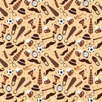 Seamless pattern of Fathers day. Flat set icons on white background. vector