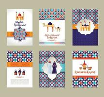 Banners set of islamic celebration. Ramadan Kareem and Eid Mubarak. vector