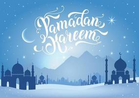 Ramadan Kareem illustration with mountains and mosques in blue. vector