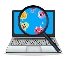 Magnifying glass found virus on laptop vector