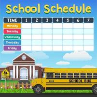 School schedule timetable with student items vector
