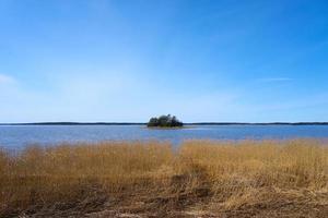 Isla en la costa del mar Báltico en Finlandia en primavera foto