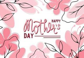 Banner abstracto floral del día de la madre, plantilla moderna con flores y hojas, ilustración vectorial vector