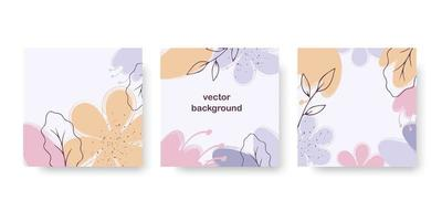 Floral abstract set of banner, greeting card, poster, holiday cover. Trendy design with hand drawn flower, leaves and dots in pastel colors. Modern art minimalist style. vector