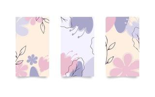 Set of floral backgrounds for social media stories. Vector illustration in pastel colors