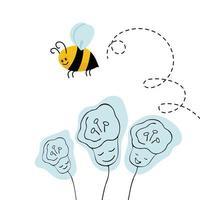 linda abeja con círculos sobre la flor. ilustración vectorial de estilo de dibujos animados.