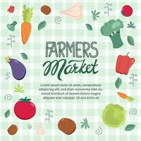 Farmers market background with fruits and vegetables and hand drawn lettering vector
