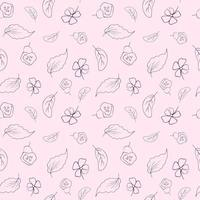 Seamless pattern with flowers and leaves. Outline style. Vector doodles on a pink background. Vector endless texture
